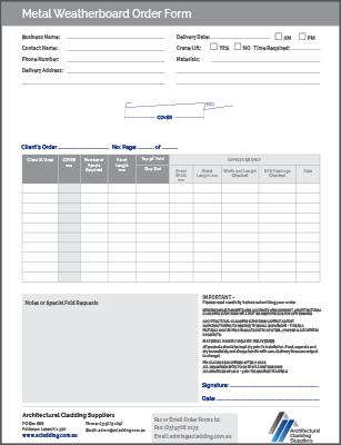 Metal Weatherboards Order Form