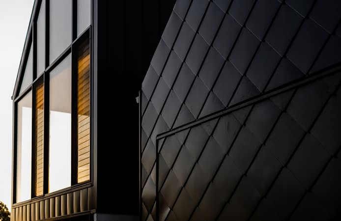 """, """"The Black Swell"""" – Shingle Metal Cladding Is Used To Make A Strong Design Statement In Ocean Grove"""
