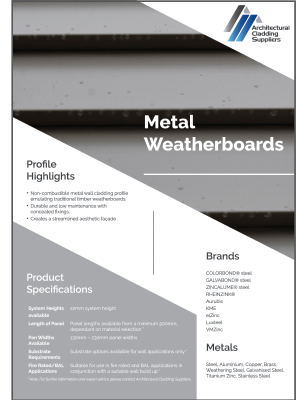 Metal Weatherboards Data Sheet